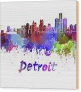 Detroit Skyline In Watercolor Wood Print