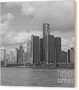 Detroit Skyscape Wood Print