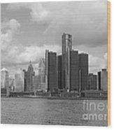 Detroit Skyscape Wood Print