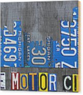 Detroit The Motor City Skyline License Plate Art On Gray Wood Boards  Wood Print