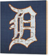 Detroit Tigers Baseball Old English D Logo License Plate Art Wood Print