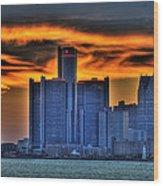 Detroits Sky Wood Print by Nicholas  Grunas