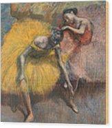 Deux Danseuses Jaunes Et Roses Wood Print