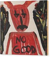devil with NO GOOD tee shirt Wood Print