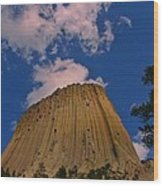 Devils Tower As A Volcano Wood Print