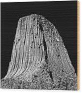 109851-bw-devil's Tower 2  Wood Print