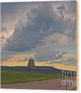 Devils Tower On The Horizon At Sunset Wood Print