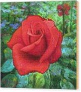 Dew Soaked Rose Wood Print