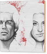 Dexter And Debra Morgan Wood Print