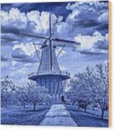 deZwaan Holland Windmill in Delft Blue Wood Print