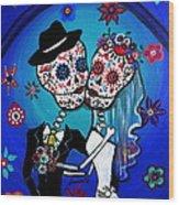 Dia De Los Muertos Kiss The Bride Wood Print