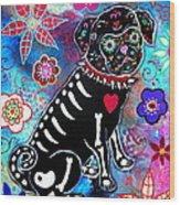 Dia De Los Muertos Pug Wood Print by Pristine Cartera Turkus