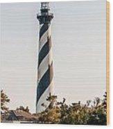 Diagonal Black And White Stripes Mark The Cape Hatteras Lighthou Wood Print