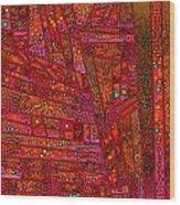 Diagonal Tiles In Reds Wood Print