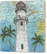 Diamond Head Lighthouse Hi Nautical Chart Map Art Wood Print