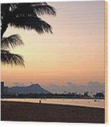 Diamond Head Sunrise - Honolulu Hawaii Wood Print by Brian Harig