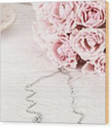 Diamond Necklace And Pink Roses Wood Print