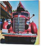 Diamond T Truck - Tomato Red Wood Print