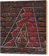 Diamondbacks Baseball Graffiti On Brick  Wood Print by Movie Poster Prints
