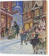 Dickensian Christmas Scene Wood Print by Angus McBride