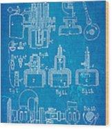 Diesel Internal Combustion Engine Patent Art 1898 Blueprint Wood Print