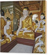 different sitting Buddhas in a circle in SHWEDAGON PAGODA Wood Print