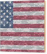 Digital Camo Us Flag Wood Print