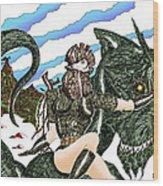 Digital Dragon Rider Colour Version Wood Print