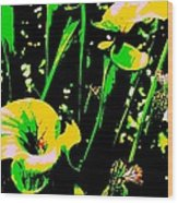 Digital Green Yellow Abstract Wood Print