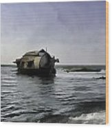 Digital Oil Painting - A Houseboat Moving Placidly Through A Coastal Lagoon Wood Print