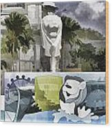 Digital Oil Painting - Statue Of The Merlion With A Banner Below The Statue And With Bu Wood Print