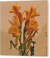Digital Painting Lily Like Wood Print