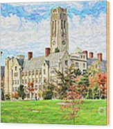 Digital Painting Of University Hall Wood Print