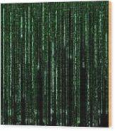 Digital Rain Wood Print