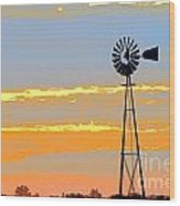 Digital Windmill-horizontal Wood Print