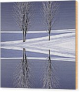 Digitally Manipulated Image Of Two Trees In The Middle Of Winter Wood Print