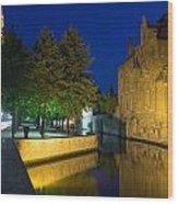 Dijver Canal At Night  Wood Print