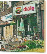 Dilallo Burger Diner Paintings Originalclassic Vintage Burger Joint St Henri St Catherine Cityscene  Wood Print