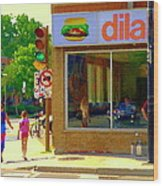 Dilallo Notre Dame Ouest And Charlevoix Sunny Street Montreal Urban City Scene Carole Spandau Wood Print