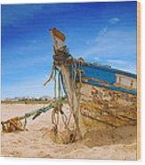 Dilapidated Boat At Ferragudo Beach Algarve Portugal Wood Print