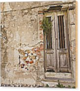 Dilapidated Brown Wood Door Of Portugal II Wood Print by David Letts