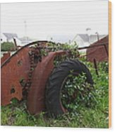 Dilapidated Farm Tractor At The Old Pierce Point Ranch In Foggy Point Reyes California 5d28120 Wood Print by Wingsdomain Art and Photography