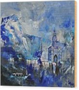 Dinant In Blue Wood Print
