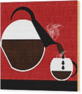 Diner Coffee Pot And Cup Red Pouring Wood Print