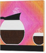Diner Coffee Pot And Cup Sorbet Wood Print