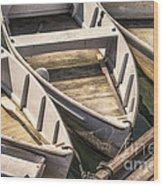 Dinghies Dockside Faded Wood Print