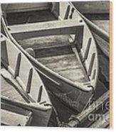Dinghies Dockside Bw Wood Print
