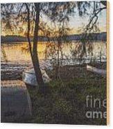 Dinghies On Shoreline Wood Print