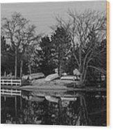 Dinghies Resting Tide Creek Black And White Wood Print