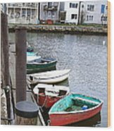 Dinghies Wait At The Pier Wood Print